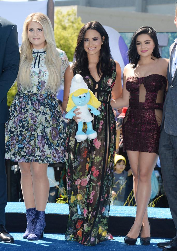 Meghan Trainor cast demi lovato cast Smurfs Lost Village Premiere