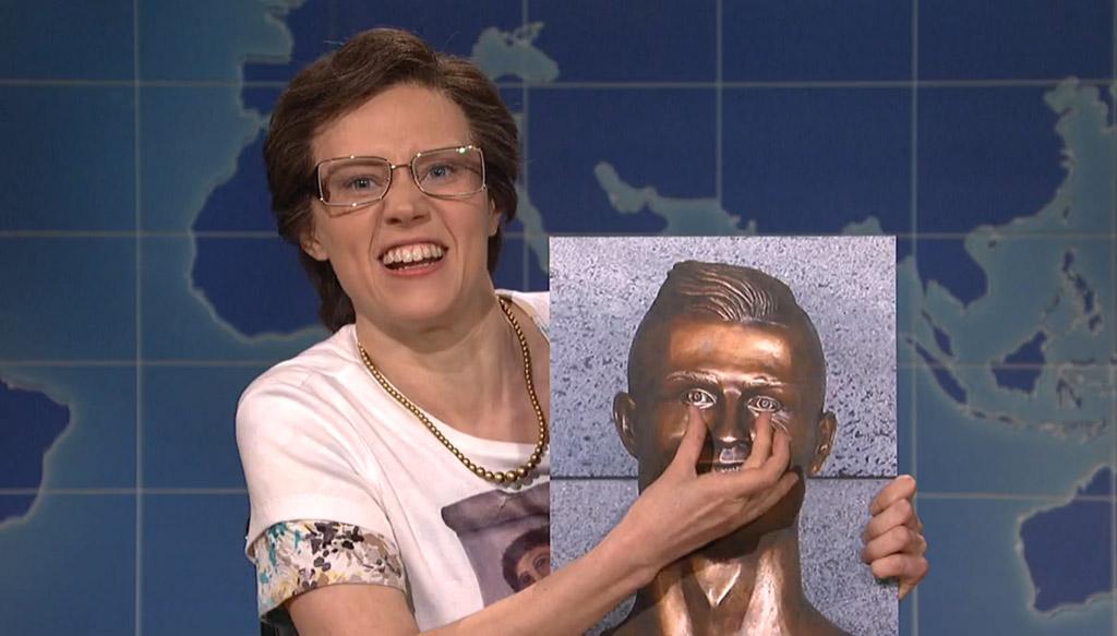 SNL saturday night live Cristiano Ronaldo bronze bust statue Emanuel Santos sculptor Kate McKinnon