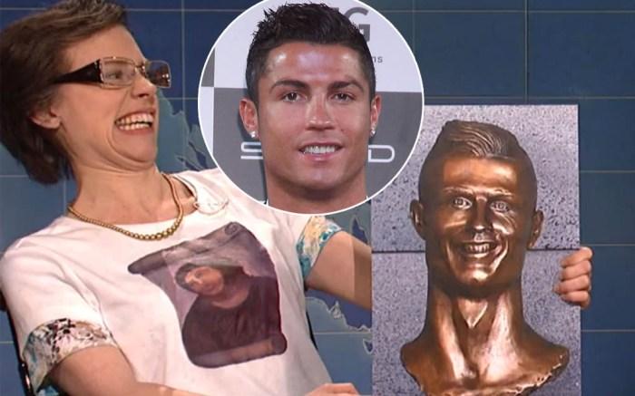 snl-cristiano-ronaldo-bust-bronze-statue-video-mocked