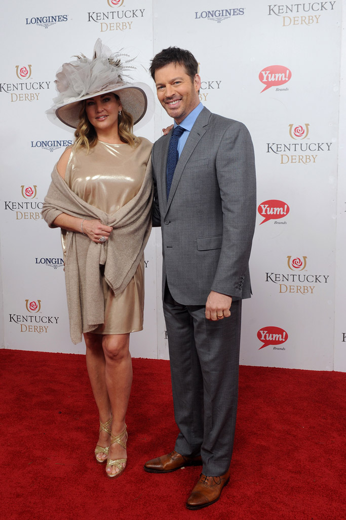 Harry Connick, Jr. and his wife Jill Goodacre kentucky derby 2017 celebrities hats style fashion fascinators dress red carpet Longines