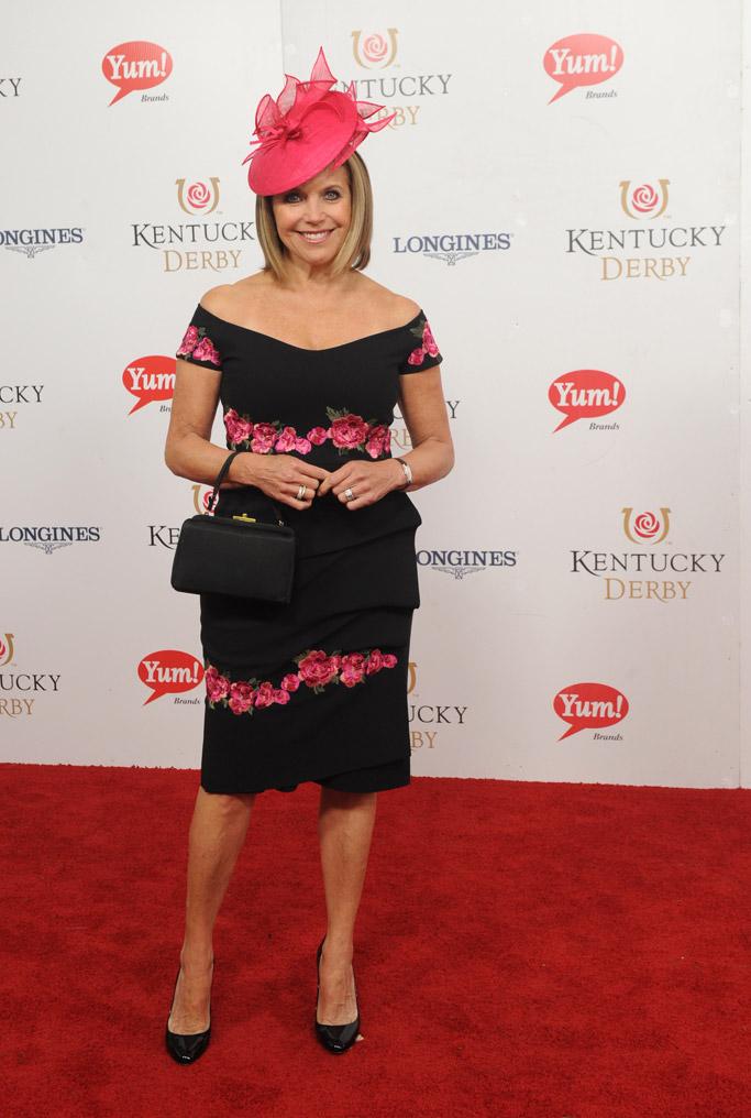 Katie Couric kentucky derby 2017 celebrities hats style fashion fascinators dress red carpet Longines