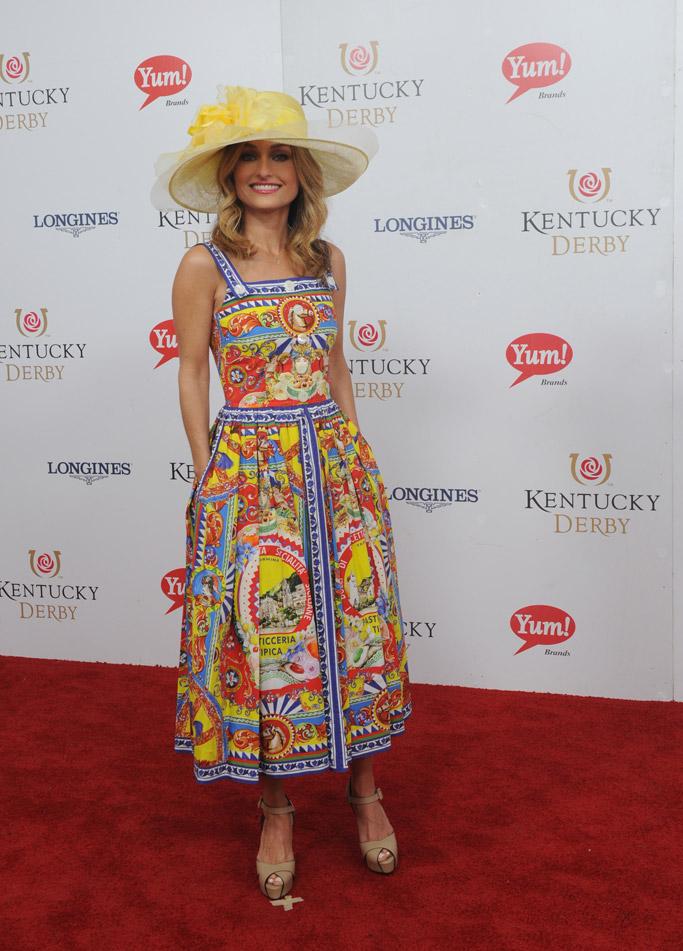 Giada De Laurentiis kentucky derby 2017 celebrities hats style fashion fascinators dress red carpet Longines