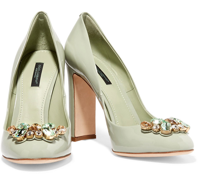 dolce & gabbana, pumps, mint green, block heels