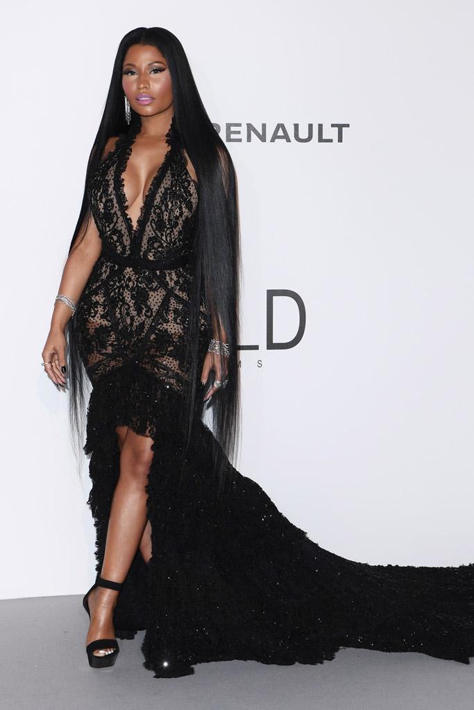 Nicki Minaj, balmain, roberto cavalli, celebrities, red carpet, 2017 amfAR Gala, cannes film festival, fashion, style, dress, shoes