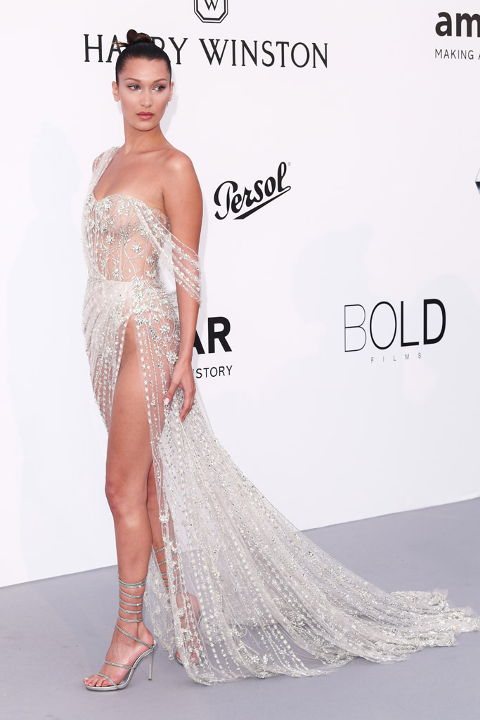 bella hadid, ralph and russo, rene caovilla, amfar gala 2017, celebrity, style, fashion, red carpet, dress, shoes, see-through, sheer