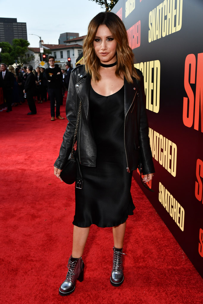ashley tisdale snatched amy schumer goldie hawn red carpet dress heels movie fashion shoes