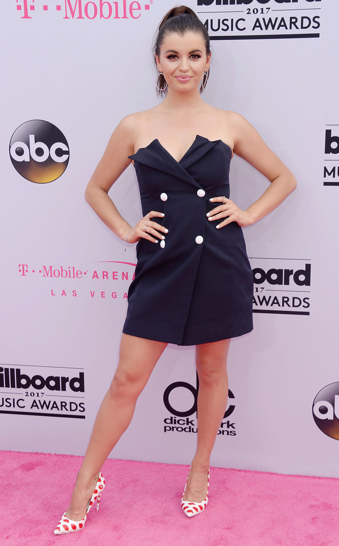rebecca black, billboard music awards, red carpet, 2017, celebrities, fashion, style, dress, shoes