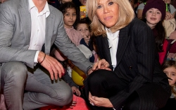 "French president's wife Brigitte Macron and Didier Deschamps during the launch of the 31st edition of the ""Pieces Jaunes"""