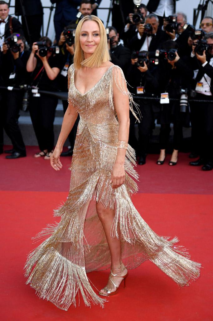 uma thurman, cannes film festival, 2017, versace, dress, sandals