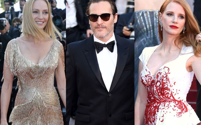 uma thurman, cannes film festival, 2017, versace, dress, sandals, jessica chastain, Joaquin Phoenix