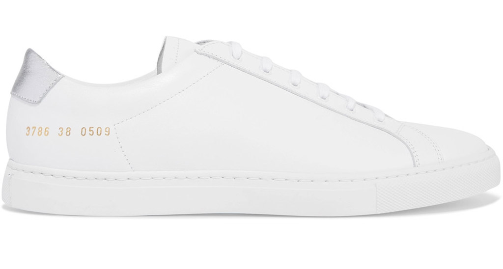 common projects sneakers, white, silver heel