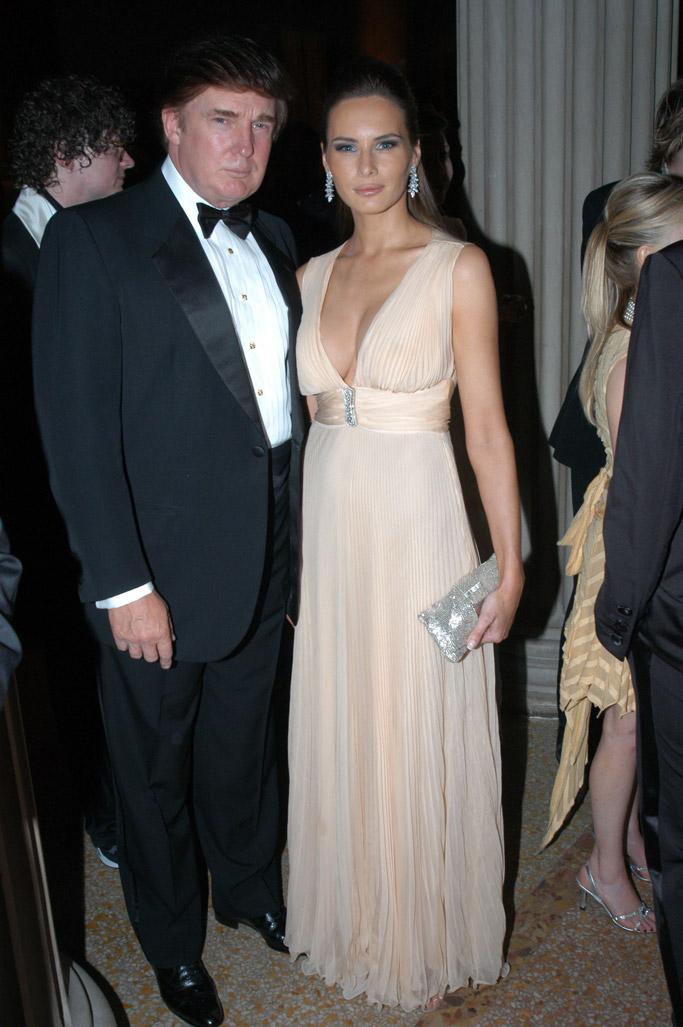 melania Knauss trump donald trump met gala red carpet style fashion dress shoes nude 2003