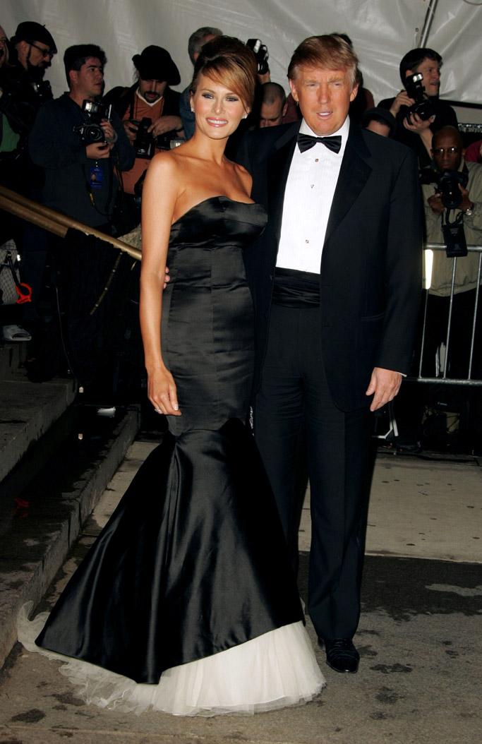 melania trump donald trump met gala red carpet style fashion dress shoes 2005
