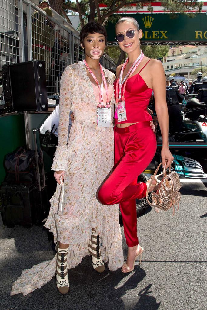 f1, monaco grand prix, monte carlo, style, fashion, dress, shoes, sandals, nude, bella hadid