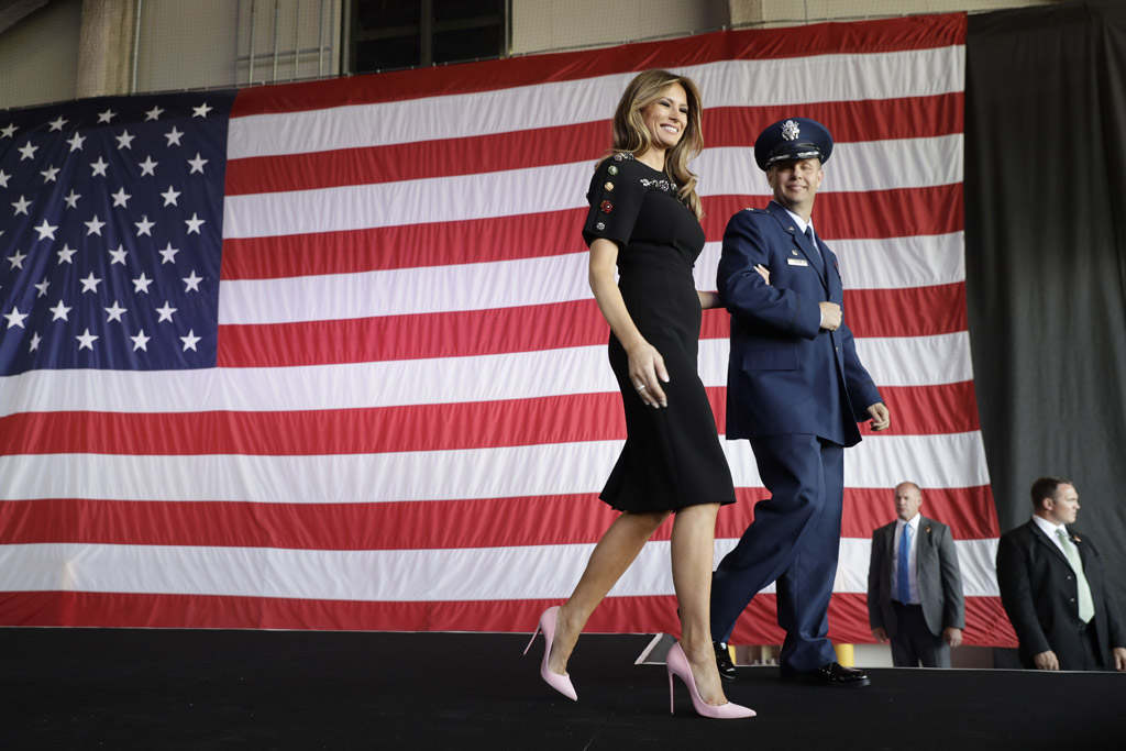 melania trump, christian louboutin, fashion, dress, style, shoes, donald trump, first lady, dolce & gabbana