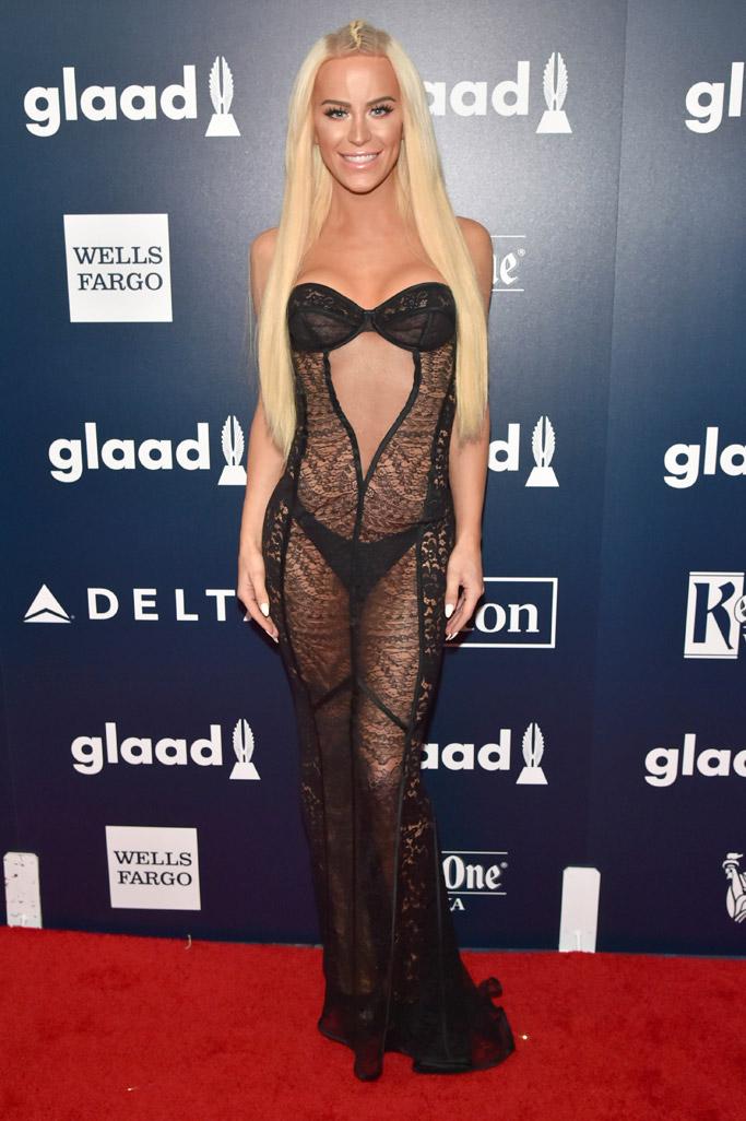 Gigi Gorgeous glaad media awards red carpet 2017 new york city nyc fashion style shoes dress