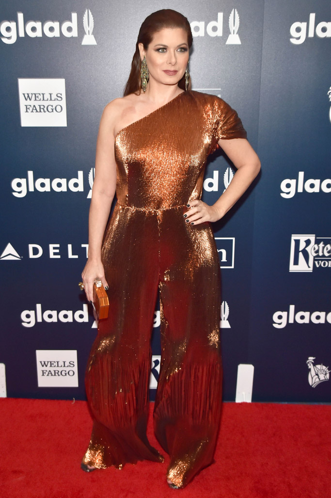 debra messing glaad media awards red carpet 2017 new york city nyc fashion style shoes dress