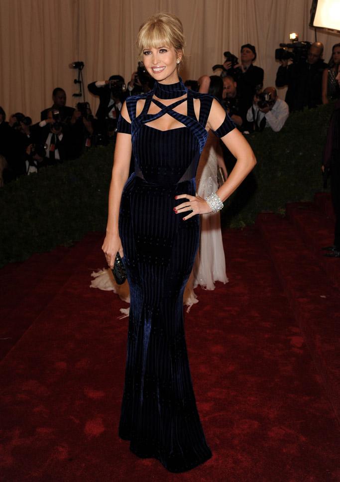 Ivanka Trump, met gala, red carpet, blue gown, 2012, bangs, celebrity style
