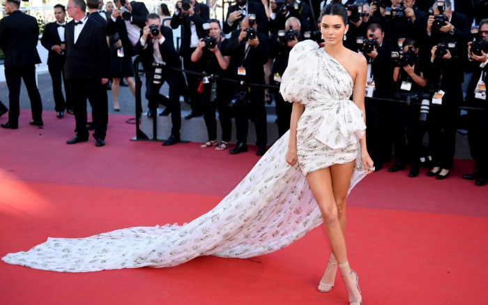 Kendell Jenner, cannes film festival, may 2017, celebrity style, legs, socks and sandals, jimmy Choo shoes, wolford socks