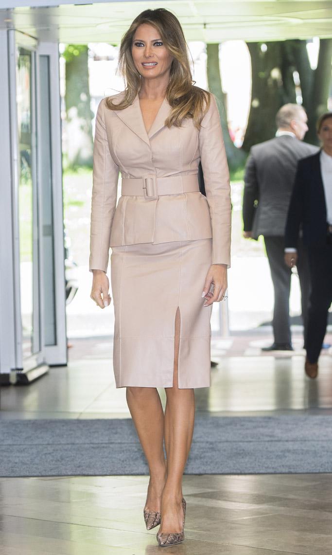 melania trump, first lady, shoes, dress, heels, snakeskin, manolo blahnik, pumps, brussels, Queen Fabiola Children's Hospital