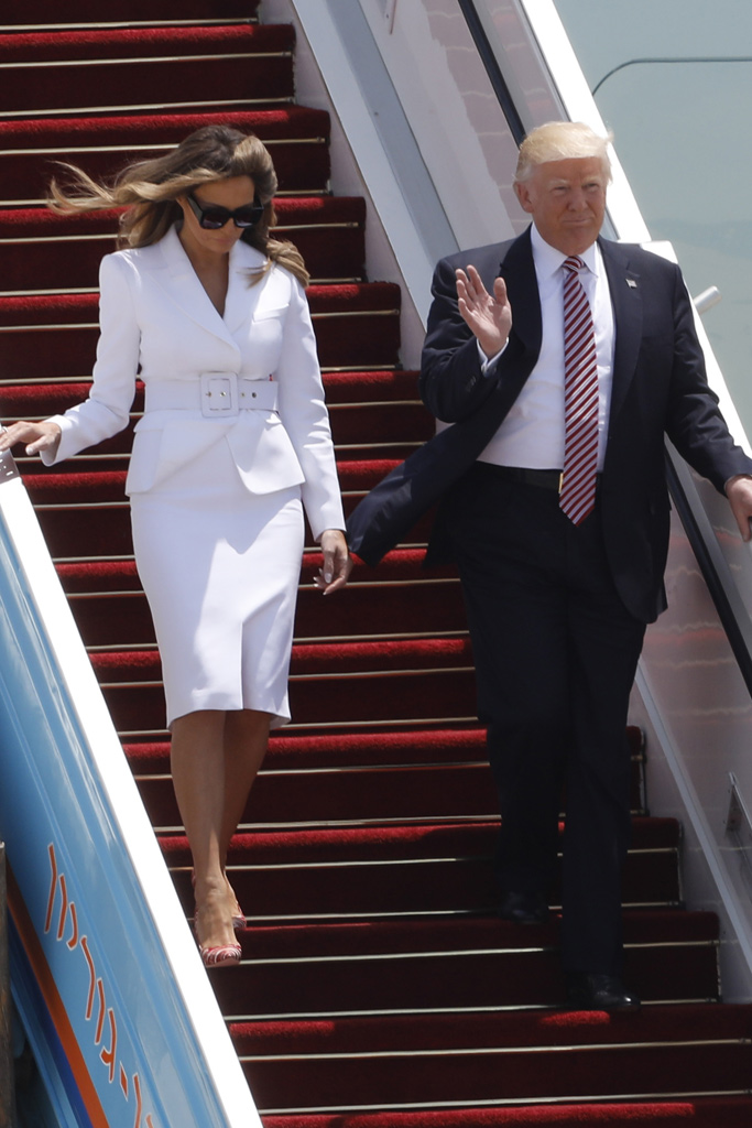Melania Trump Israel White Suit Striped Pumps