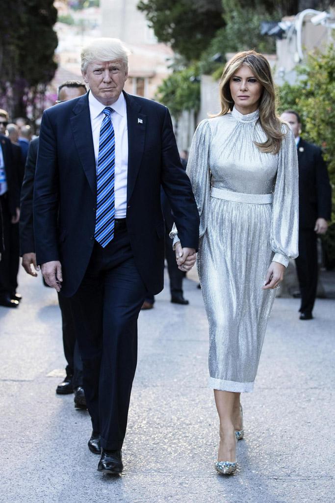 melania trump, donald trump, G7 Summit, dolce & gabbana, taormina, italy, shoes, style, fashion, silver dress, high heels