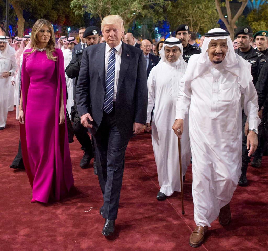 melania trump, donald trump, purple dress, King Salman, saudi arabia, fashion, style, dress