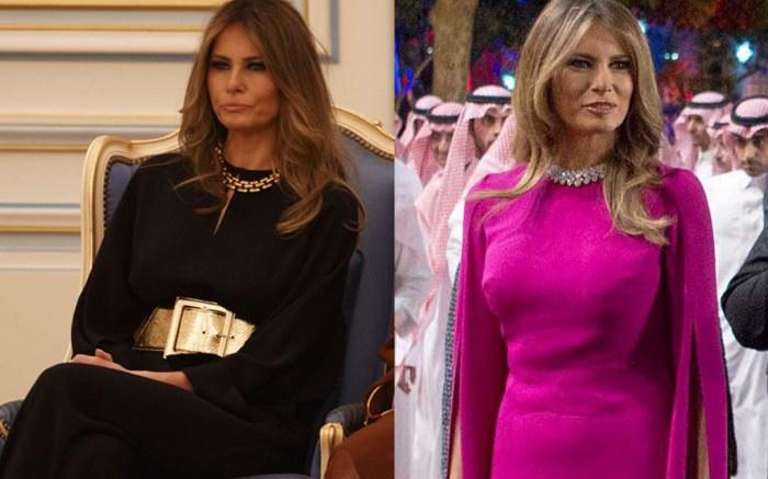 melania-trump-purple-dress-saudi-arabia-king-salman-02-gold-belt