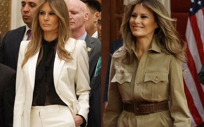 melania-trump-saudi-arabia-today-safari-ralph-lauren-suit-pocket-feature