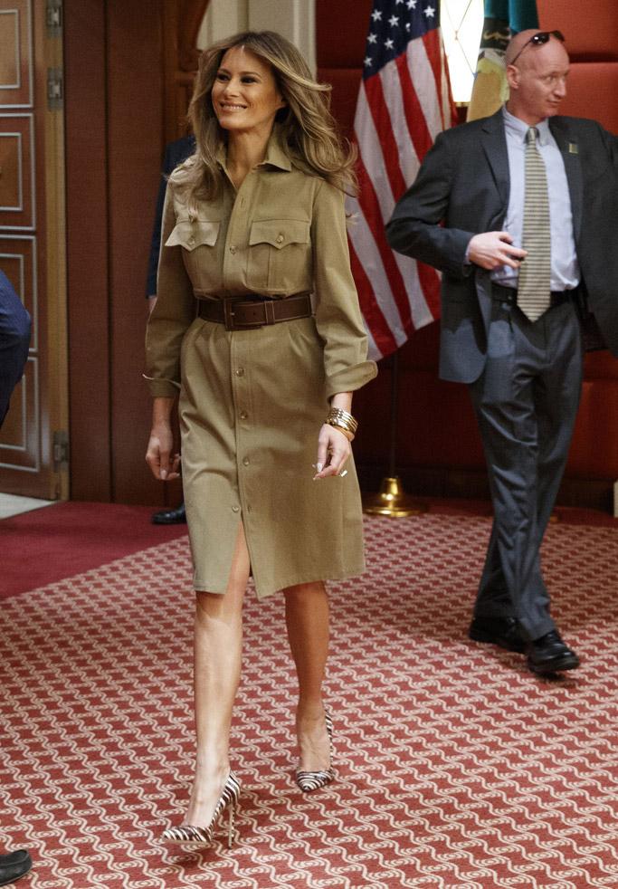 melania trump, fashion, style, first lady, saudi arabia, donald trump, ivanka trump, ralph lauren collection, American International School
