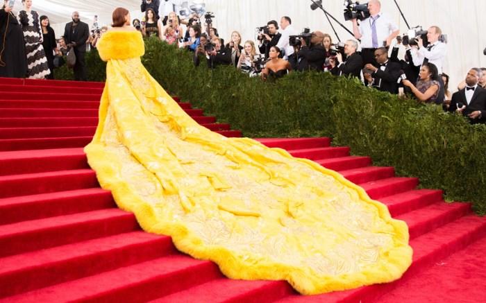 Rihanna Met Gala steps Guo Pei 2015