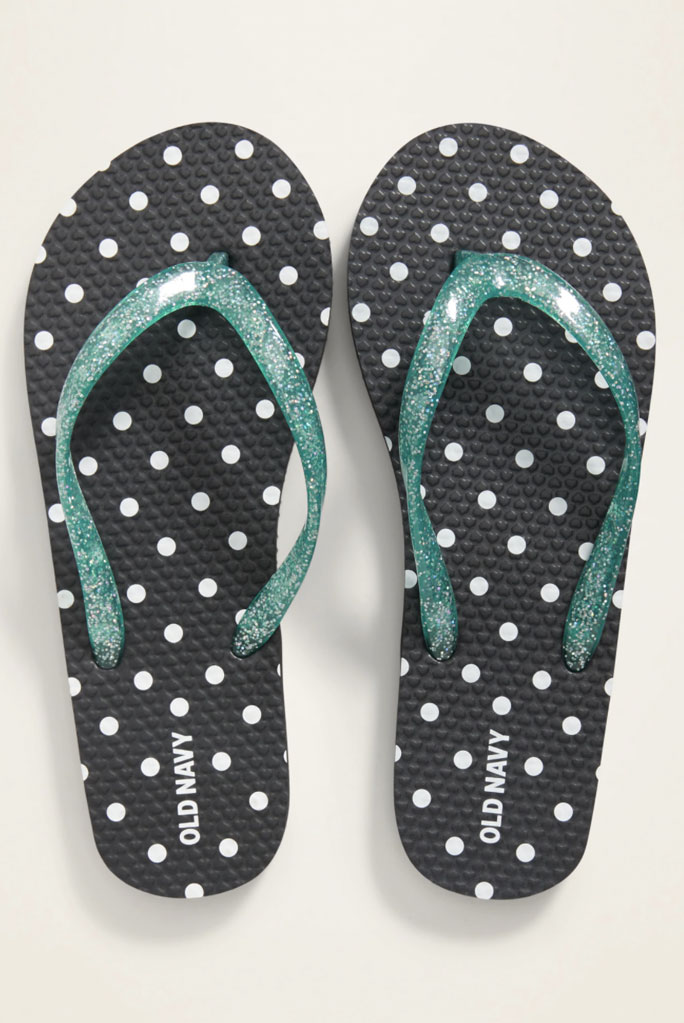 old navy, polka-dot flip flops