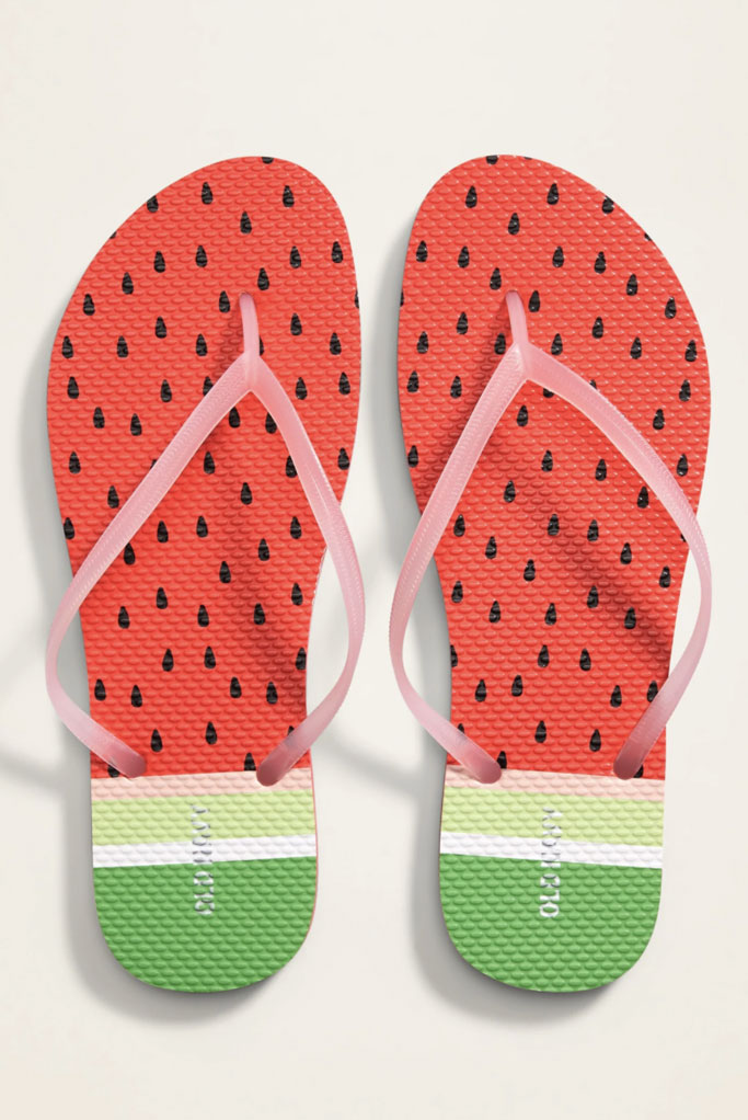 Old Navy, patterned flip-flops for women