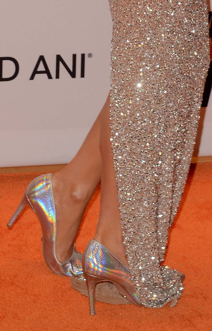 Race to Erase MS gala 2017 paris hilton red carpet shoes footwear heels dress