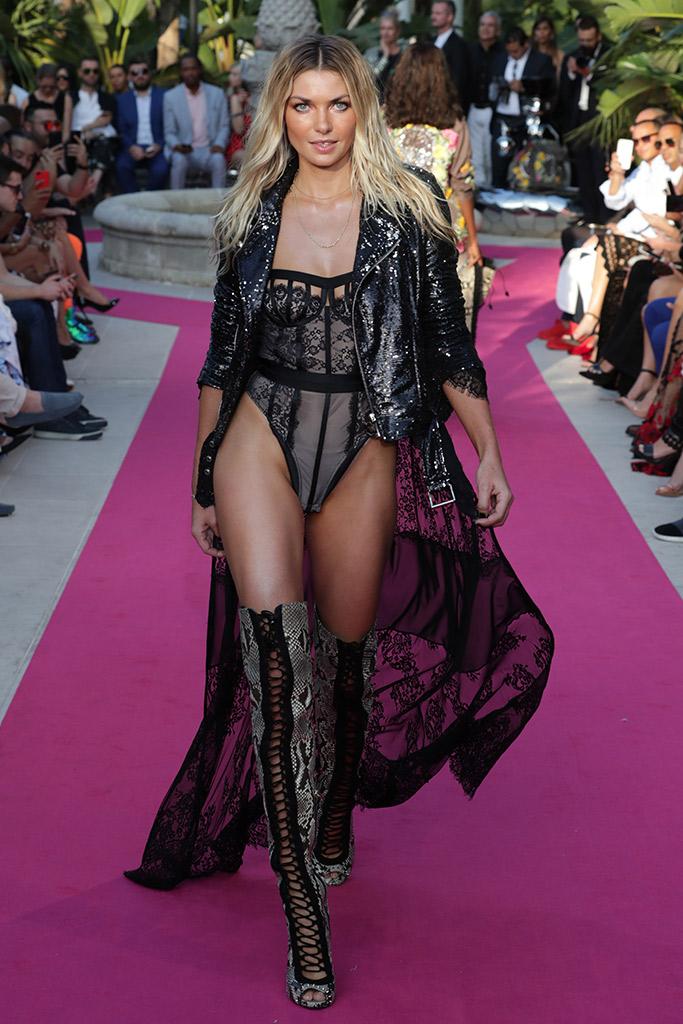 lace-up thigh-high boots runway Philipp Plein Resort 2018