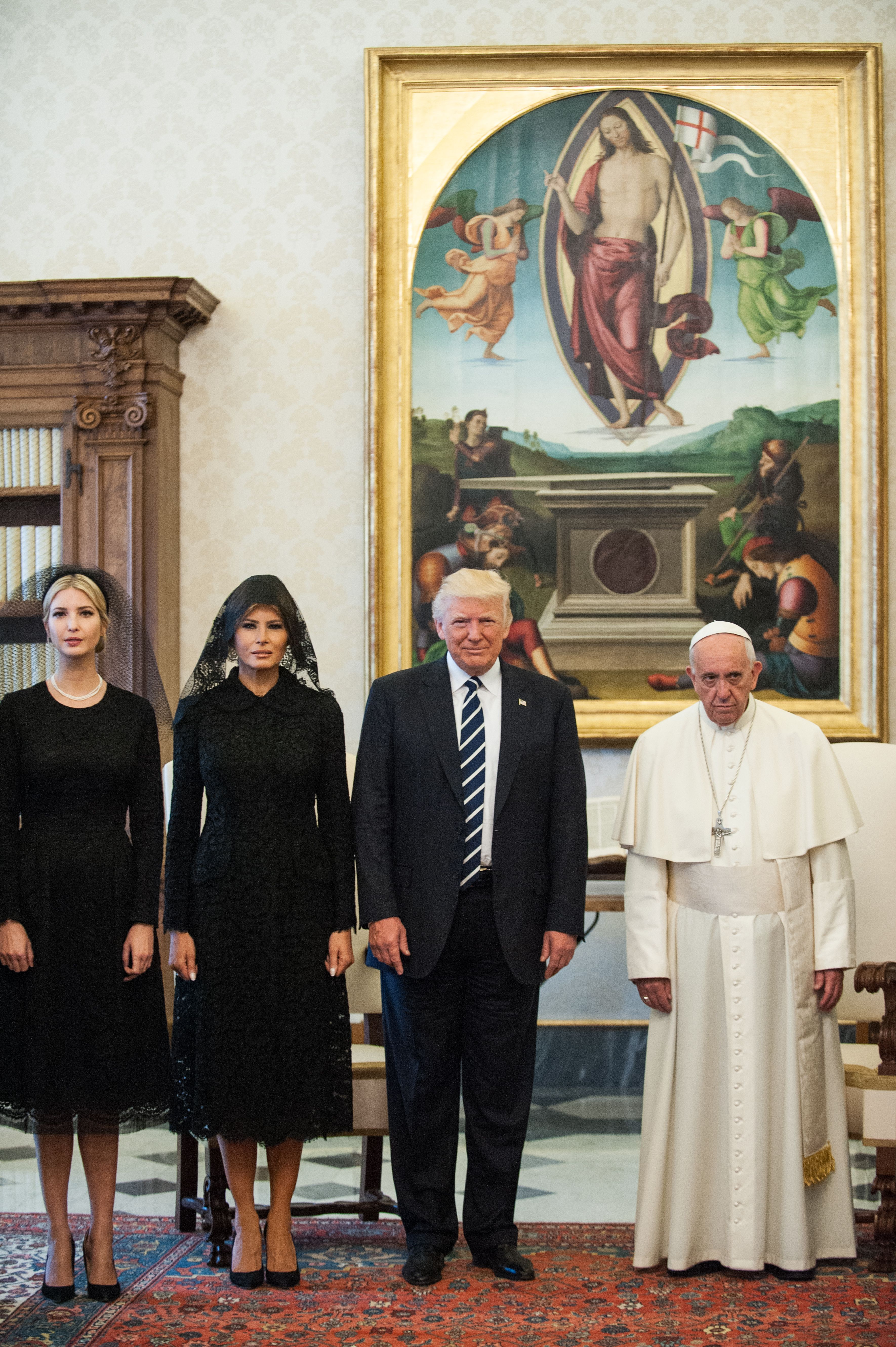 Ivanka Trump, the First lady Melania Trump, US President Donald Trump and Pope Francis during the private audience Donald Trump visit to the Vatican, Rome, Italy - 24 May 2017