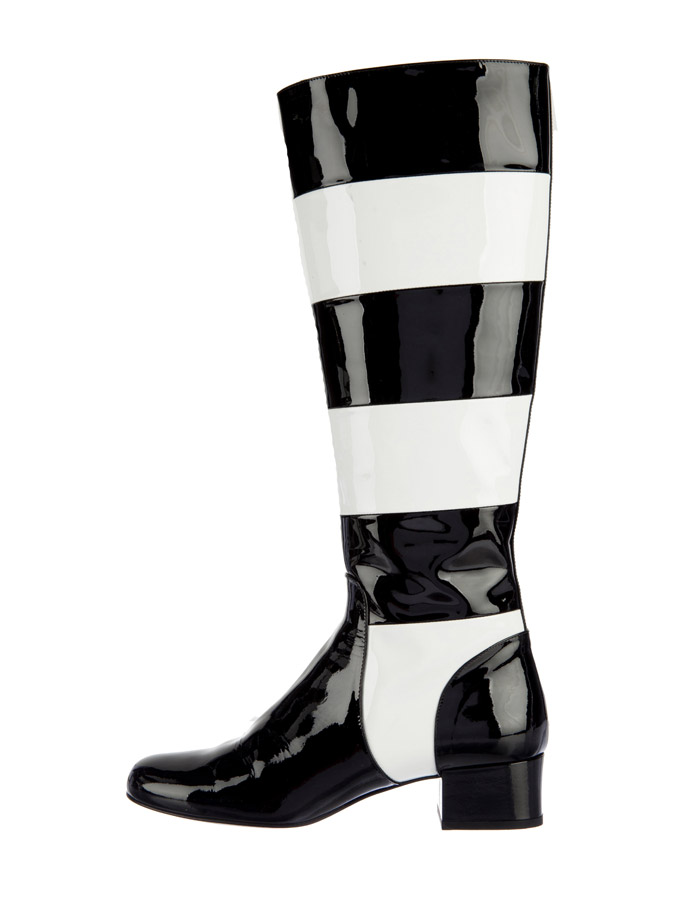saint laurent striped knee-high boots kris jenner kylie khloe kardashian the real real consignment