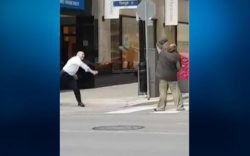 Security Guard Throws Shoe at Homeless
