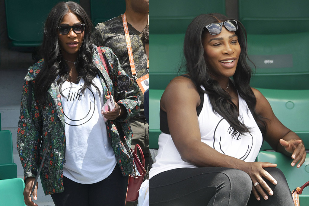 Serena Williams's smiley graphic tank matches her bubbly energy at the French Open