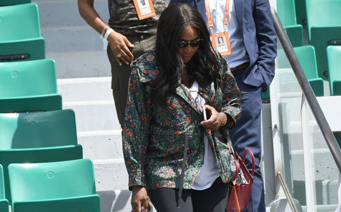 Serena Williams sporting a ditsy floral jacket at the French Open