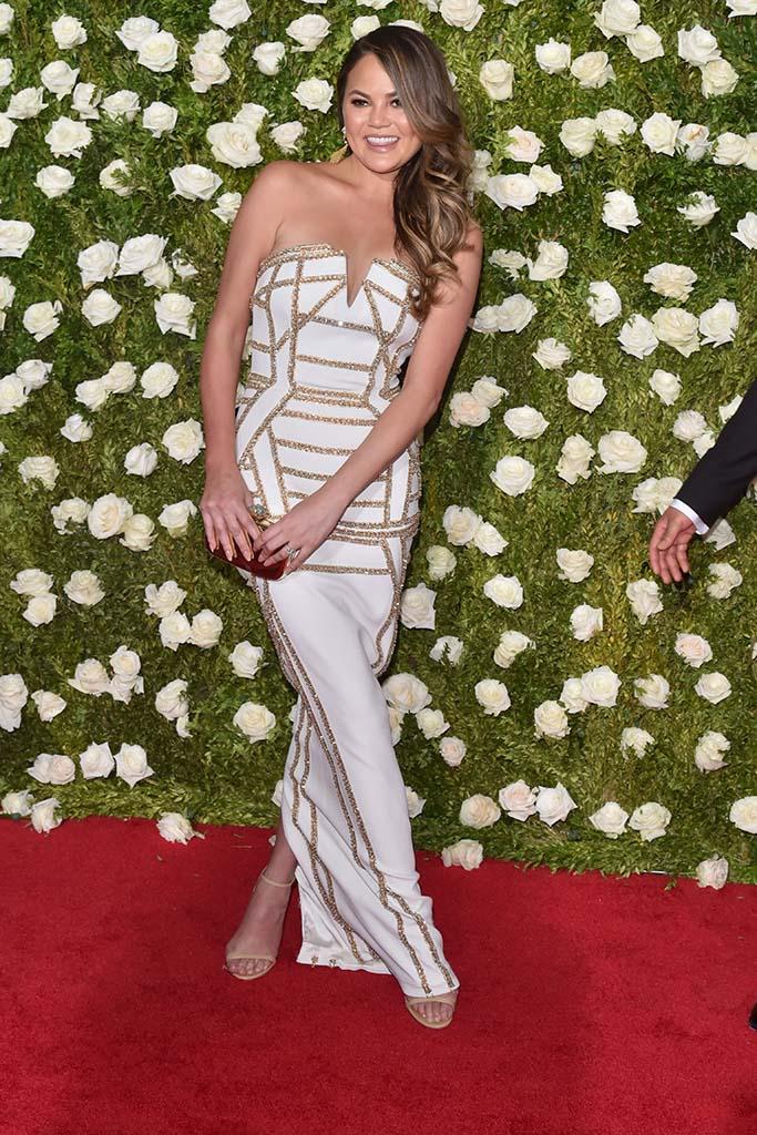 Chrissy Teigen, 71st Annual Tony Awards, red carpet, sandals