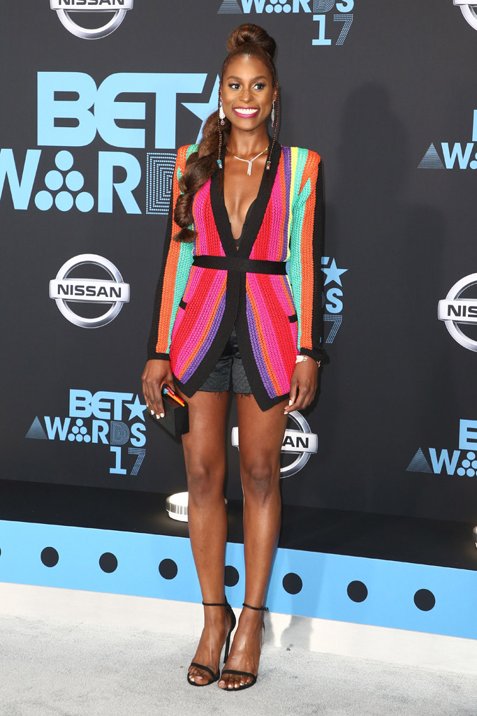 bet awards, 2017, red carpet, dress, shoes, fashion, style, Issa Rae