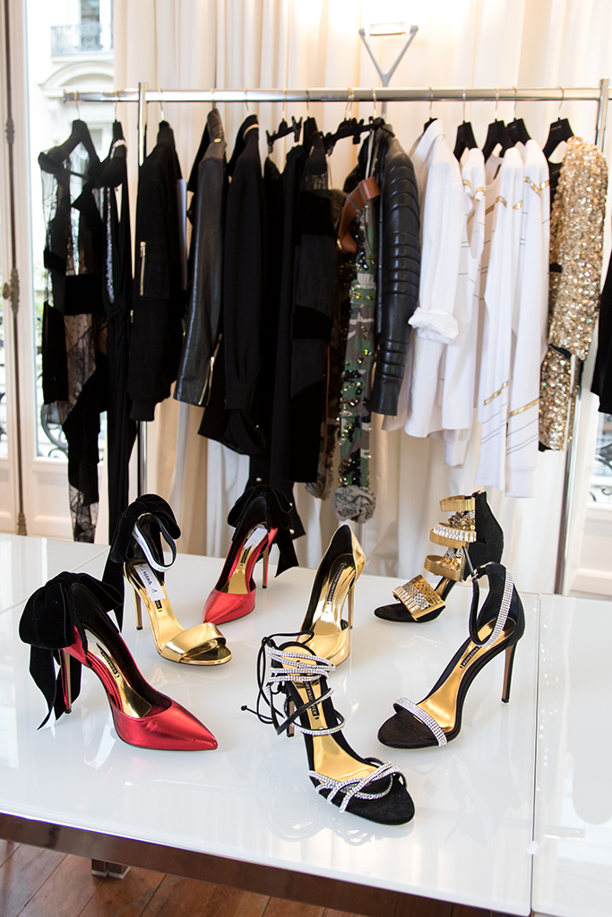 clothes and shoes at the Alexandre Vauthier showroom in Paris