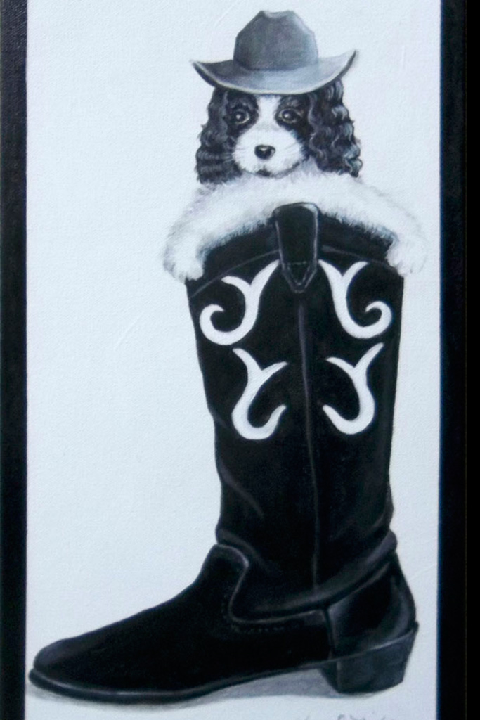 black and white sketch of boot shoe and dog by Karen D. Nichols at shoe art exhibit in florence oregon