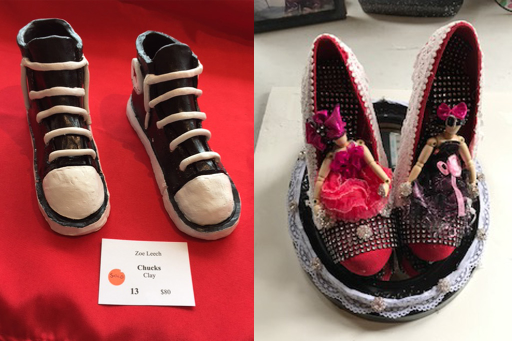 On the left, clay shoe art by Zoe Leech, on the right Embellished shoe art by Jane Rincon at art exhibit in florence oregon for competition
