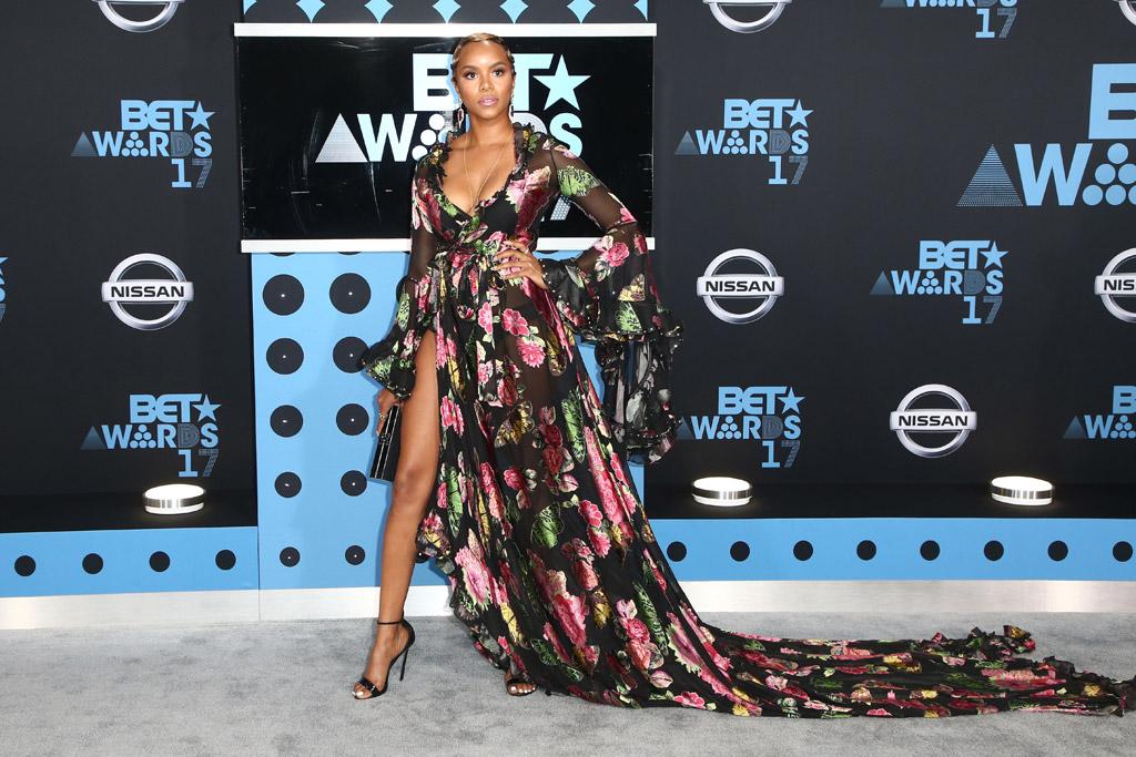 letoya luckett, bet awards, 2017, red carpet, dress, shoes, fashion, style
