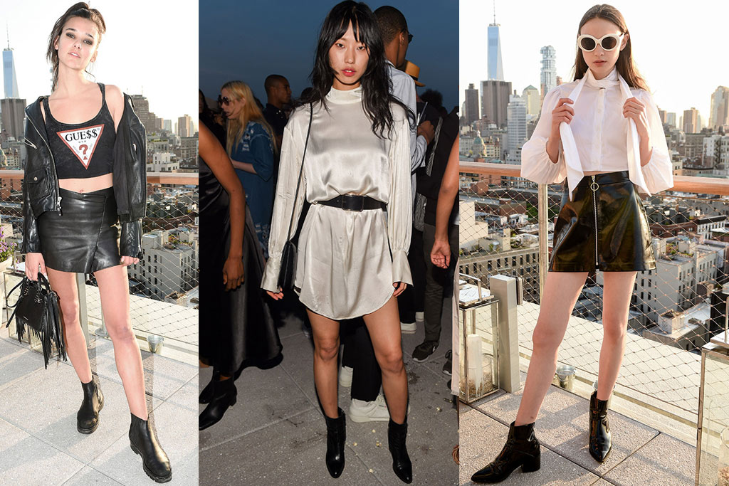 Jenny Albright, Hee Jung Park, Eris Shaver at W Magazine who's who party black boots and booties