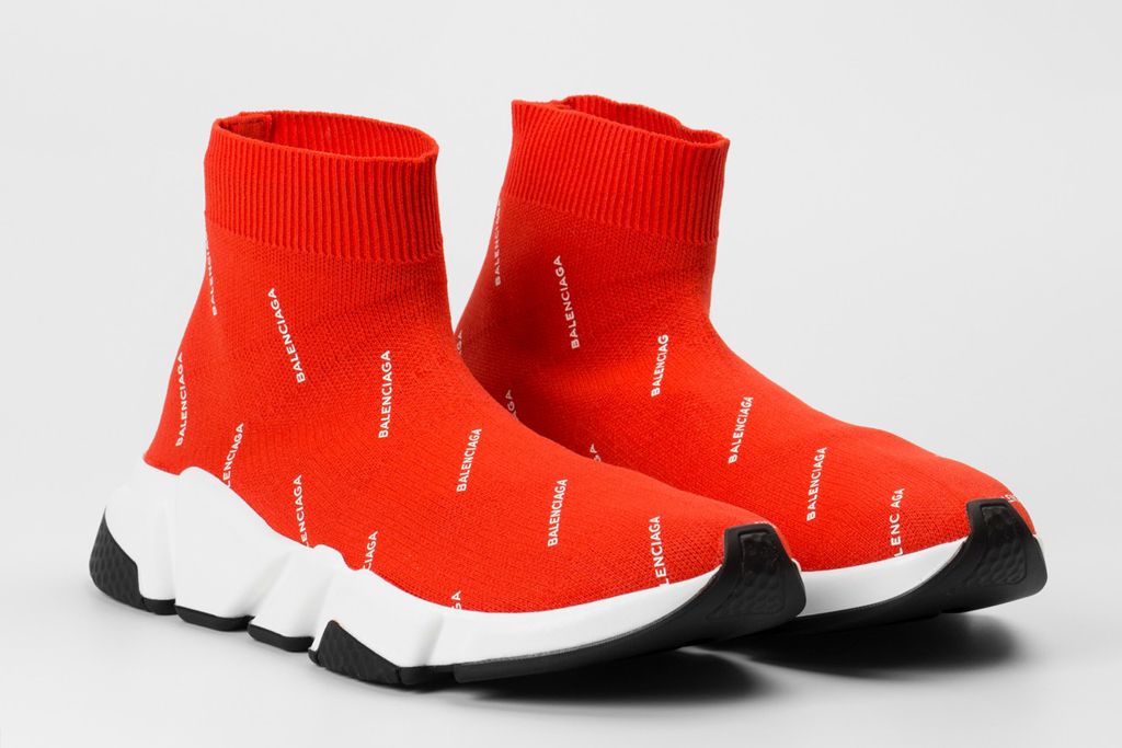 balenciaga speed trainer red on feet