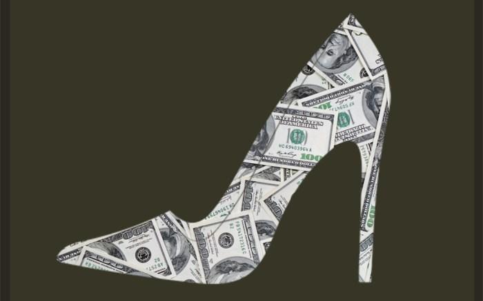 dollar bills money shoes