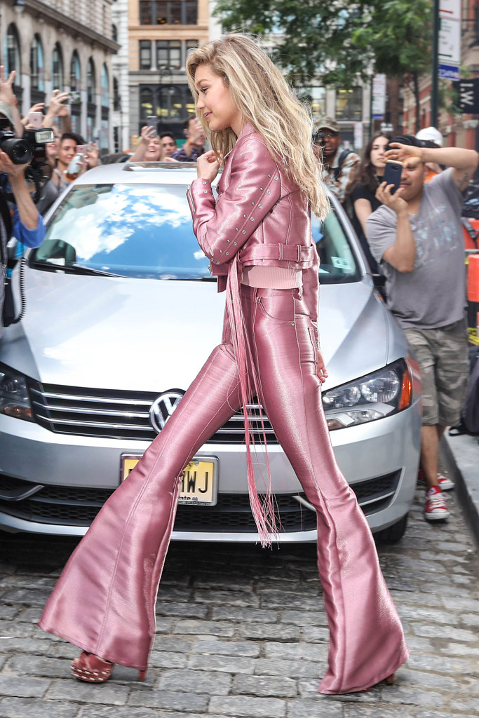gigi hadid style pink outfit